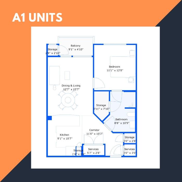 A1 Series – 1 BR Apartments