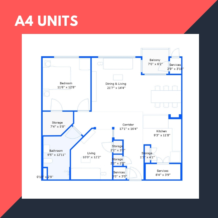 A4 Series – 1 BR Apartments