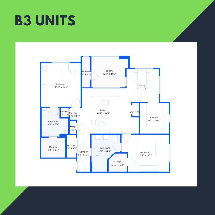 B3 Series – 2 BR Apartments